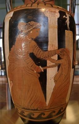 Immagine di Medea che uccide uno dei figli su un'anfora conservata al Louvre di Parigi